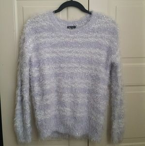Apt.9 Lilac and white sparkly striped sweater
